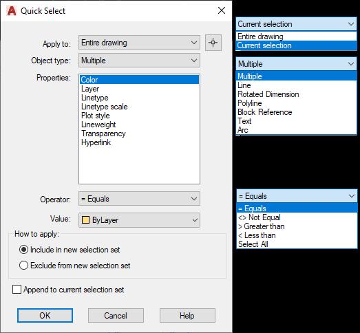 AutoCAD Quick Select